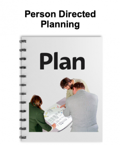 Three people working on a plan