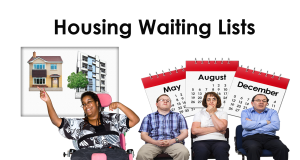 Lady chooses between a house and an apartment and three people waiting with calender months behind them